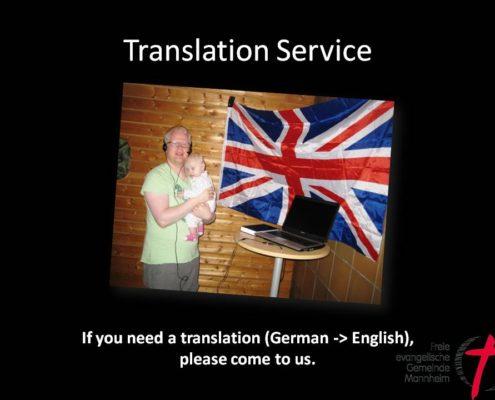 Sunday Church Service Translation German into English in Mannheim FeG Mannheim