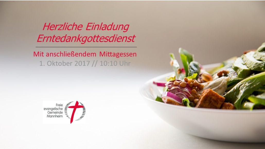 erntedankgottesdienst zum 1. oktober mit gemeinsamen mittagessen, Einladung