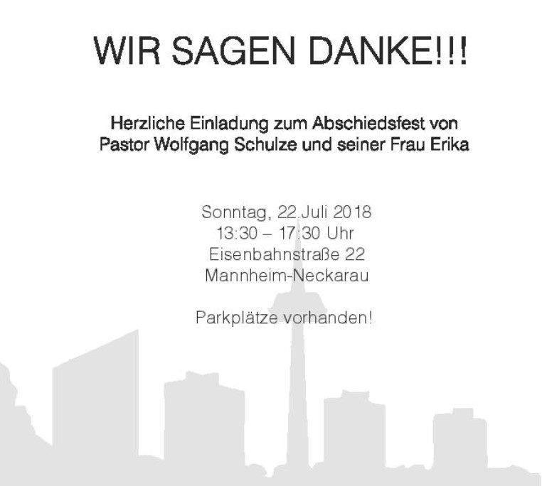 Wir sagen Danke - Abschiedsfeier für Pastor Wolfgang Schulze