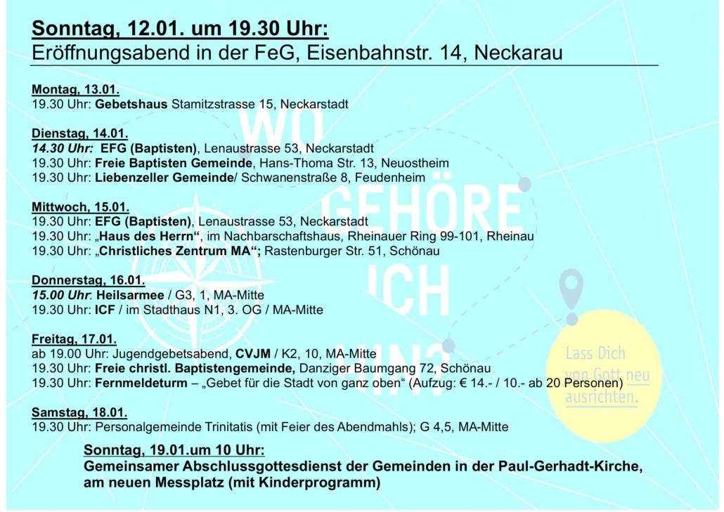 Programm der Gebetswoche 2020 in Mannheim