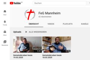 YouTube Kanal der FeG Mannheim